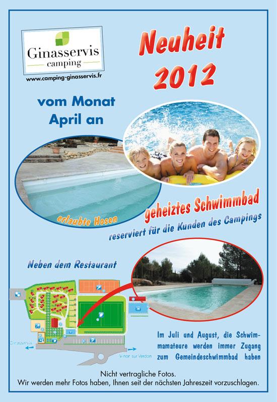 Beheizter Pool für die Gäste Campingplatz Ginasservis