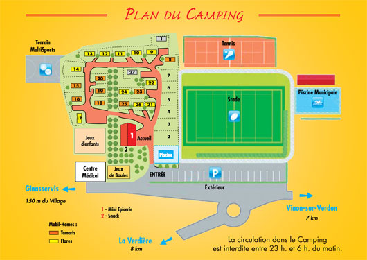 Map of campsite Ginasservis